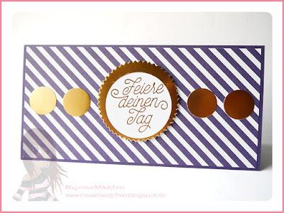 Stampin' Up! rosa Mädchen Kulmbach: Geburtstagskarte mit Designer-Grußelemete und Kupferakzenten