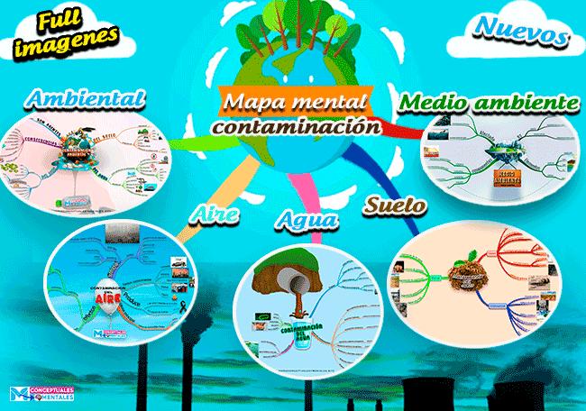 Bonitos Mapas mentales sobre la contaminación y sus tipos, causas y efectos, full imágenes