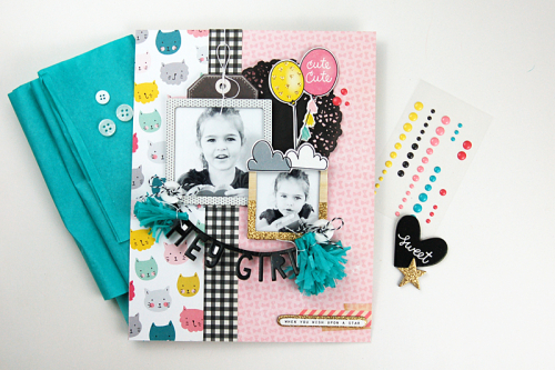 """Hey Girl"" scrapbooking layout by Jen Gallacher from www.jengallacher.com. #scrapbooking #scrapbookprocessvideo"