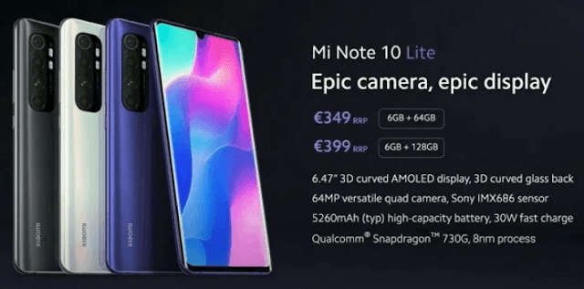 Xiaomi Mi Note 10 with SD730G, 64MP camera and 5,260 mAh battery now official