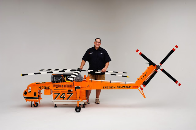 Ryan McNaught Lego Brickman with helicopter made of Lego