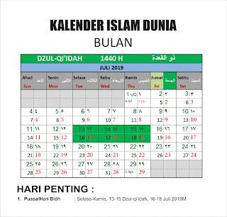 Kalender Islam bersatu Bulan Dzulqi'idah 1440h