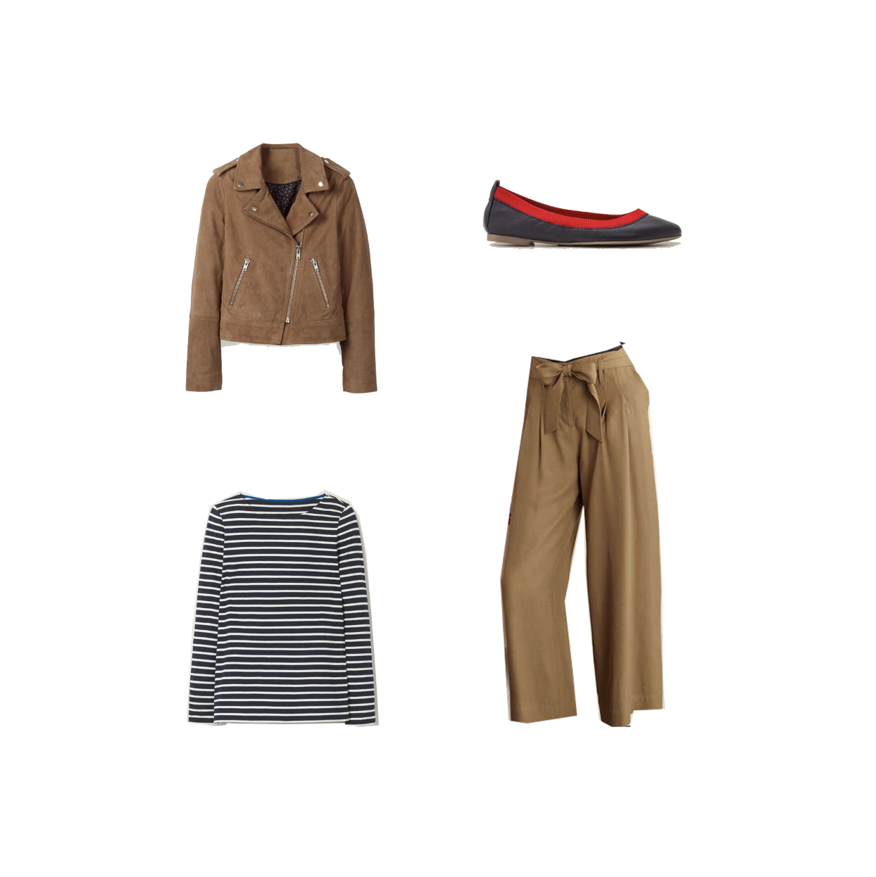 My midlife fashion, boden suede biker jacket, boden striped long sleeve breton, boden cropped wide leg trousers, boden ballet pumps