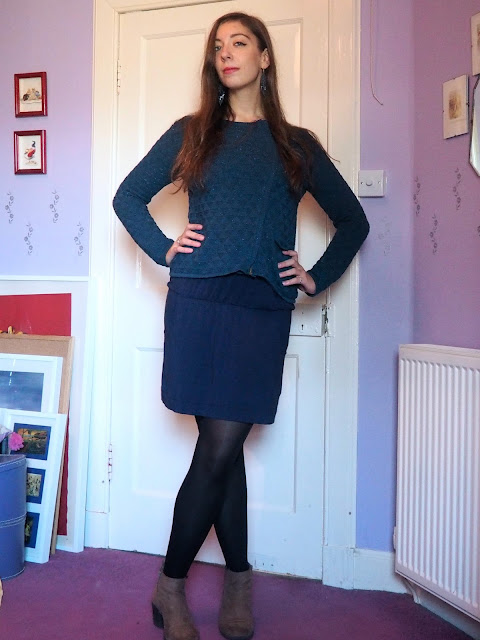 True Blue | outfit of bright blue sparkly jumper, dark blue lace dress, with black tights and brown ankle boots