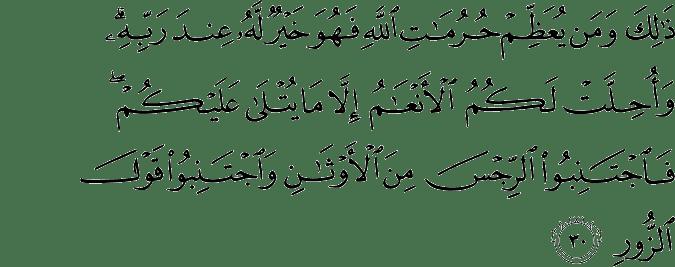 Surat Al Hajj ayat 30