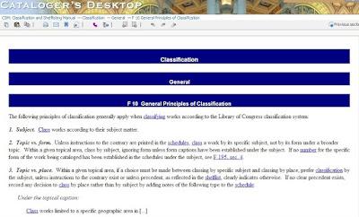 Classification and Shelflisting Manual in Cataloger's Desktop