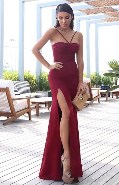 vestido longo marsala convidada