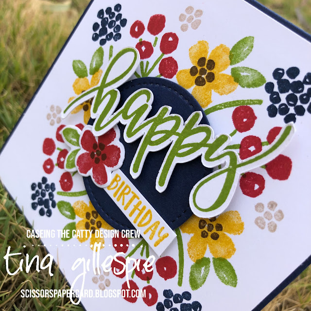 scissorspapercard, Stampin' Up!, CASEing The Catty, Pretty Perennials, Perennial Petals Dies, Stitched Shapes Dies, Stamparatus