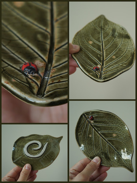 Beautiful hosta leaf ceramic plate with ladybug, pottery by Lily L.