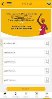 MyMTN App invite and get promo page to enter friends phone numbers and send invites