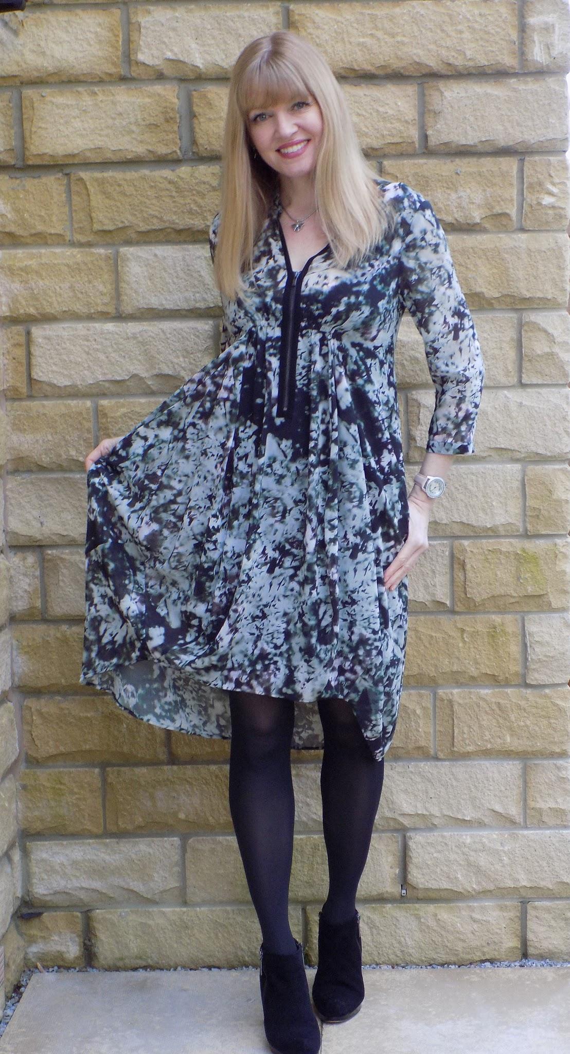 Mint Velvet Naomi dress, dipped hem printed shirt dress