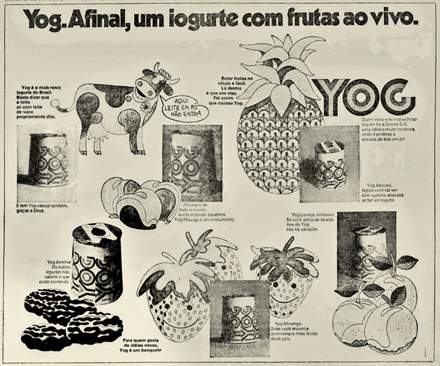 Propaganda da Yog apresentando o frescor do seu iogurte em 1972