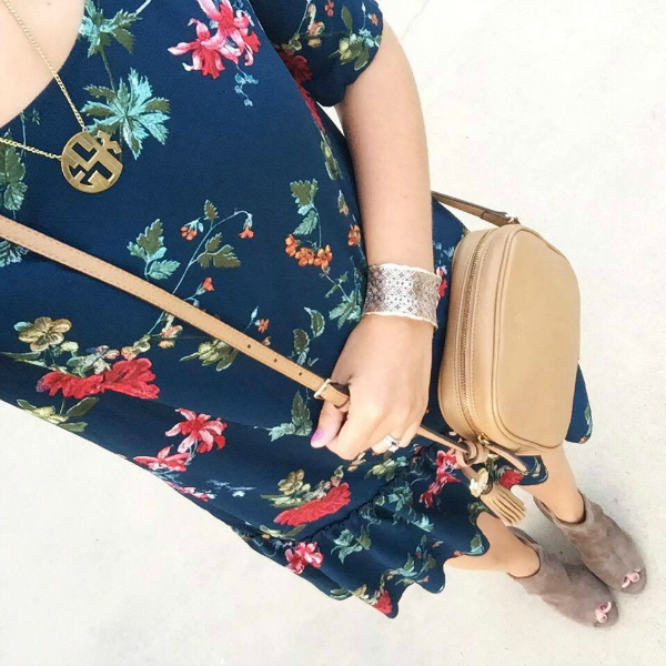 floral dress with ankle boots