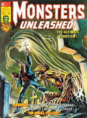 Monsters Unleashed #11, Gabriel the exorcist confronts the waking dead in a graveyard, Frank Brunner cover