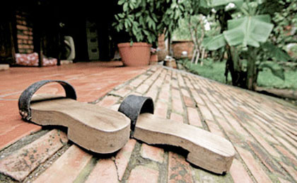 63c994e276 Bamboo sandals were usually kept for festivals or visiting friends and wooden  clogs were worn at home. These were usually homemade and had thick soles  with ...
