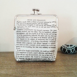 image purse clutch bag handmade domum vindemia jane austen pride and prejudice you must allow me to tell you how ardently i admire and love you kisslock bridal wedding