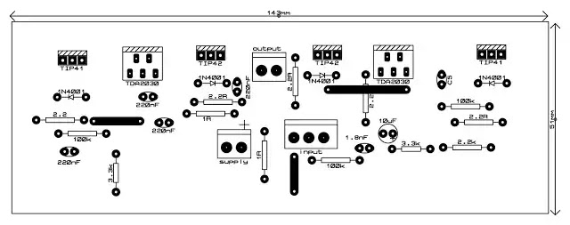 TDA2030 120 watt amplifier circuit with pcb top