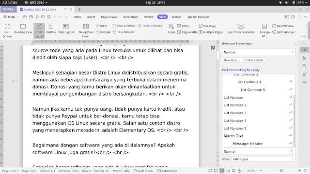 Alternatif MS Office WPS Office Linux
