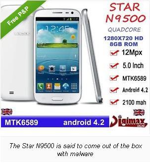 Star N9500, Ponsel Android Yang Dibekali Malware