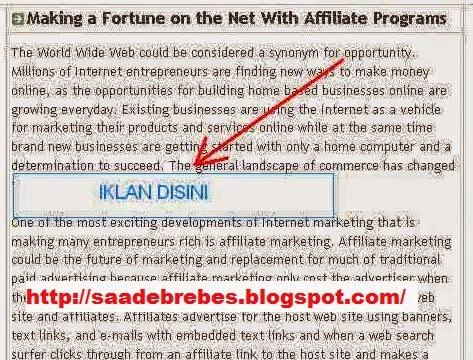 cara memasang iklan adsense ditengah artikel blogger