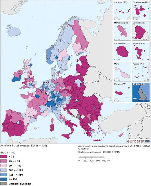 mapa Regiones económicos de Europa