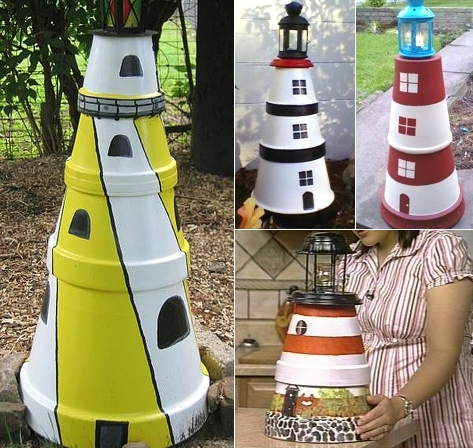 Terra Cotta Clay Pot Lighthouse