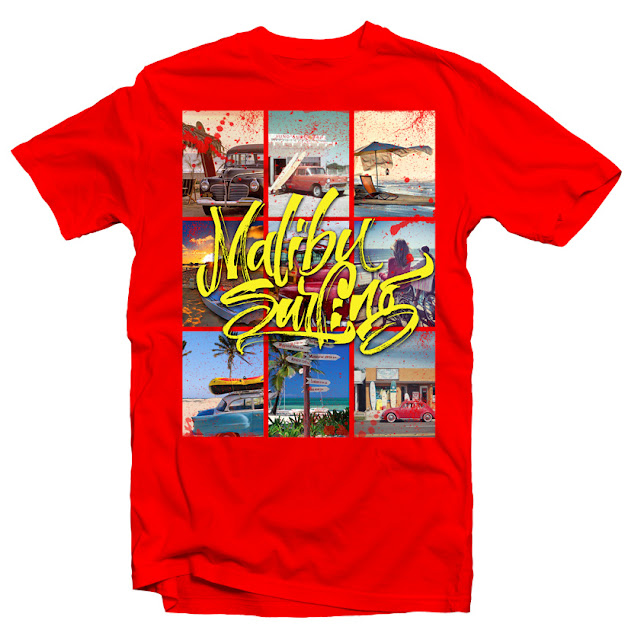 custom t shirts malibu surfing