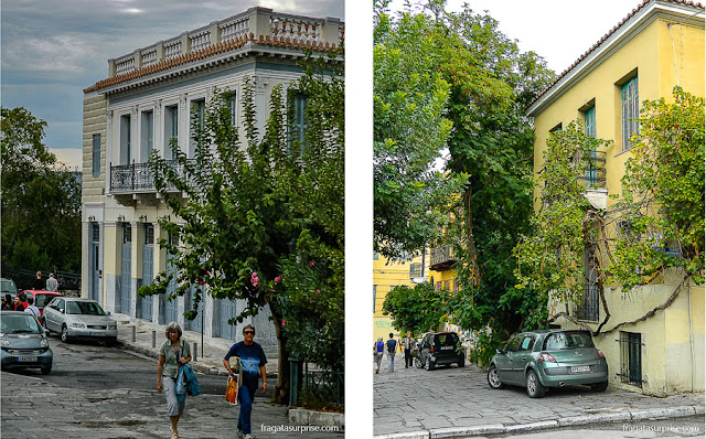Ruas de Pláka, o bairro mais antigo de Atenas