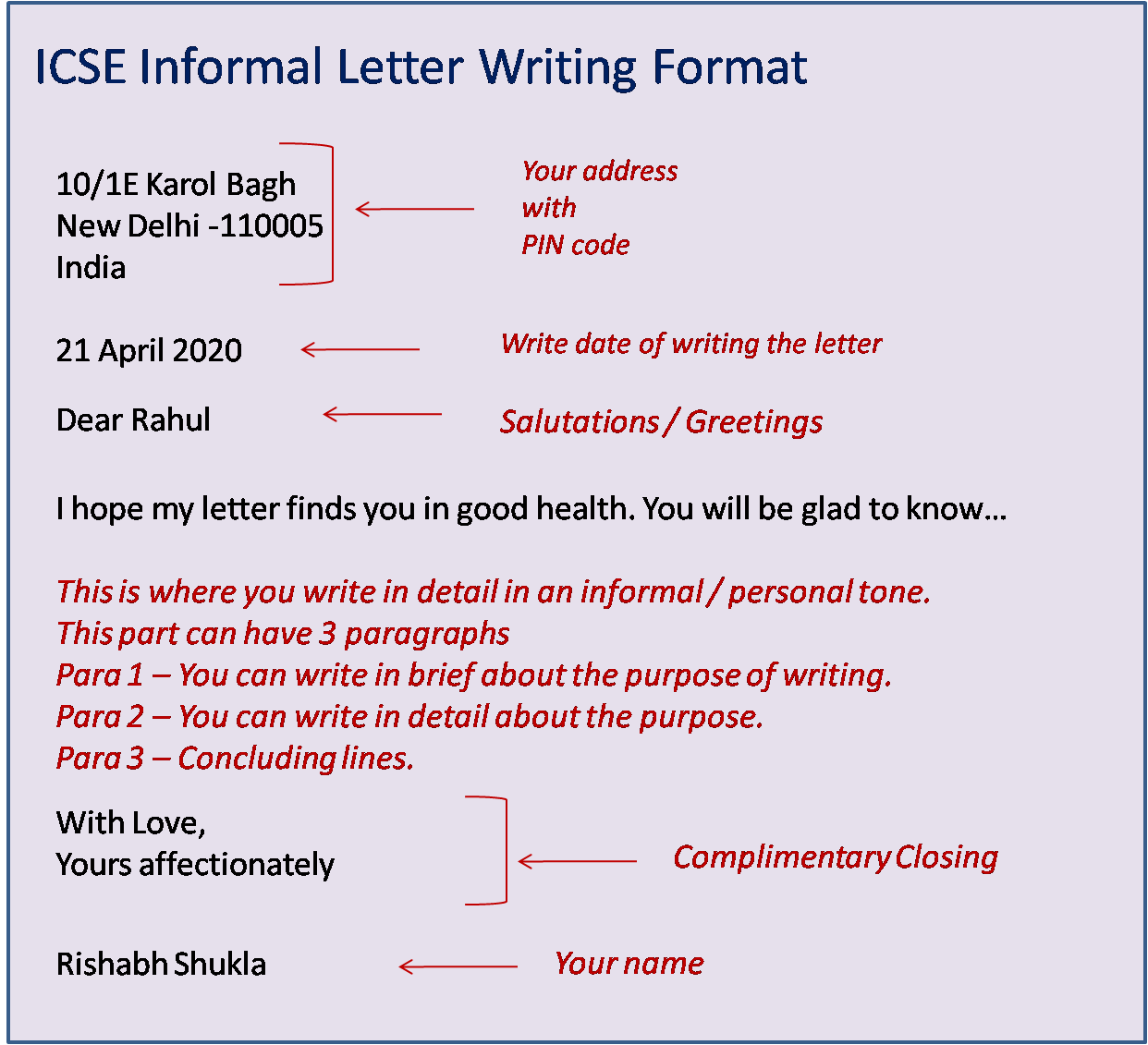 Write a informal letter in english