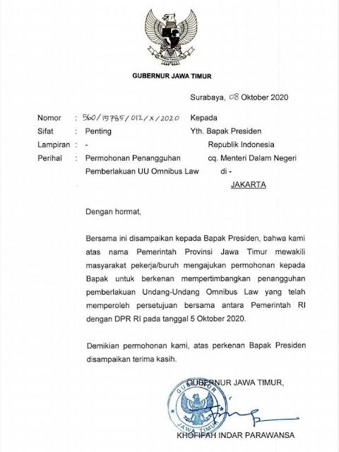Khofifah Kirim Surat ke Presiden Minta Penangguhan UU Omnibus Law