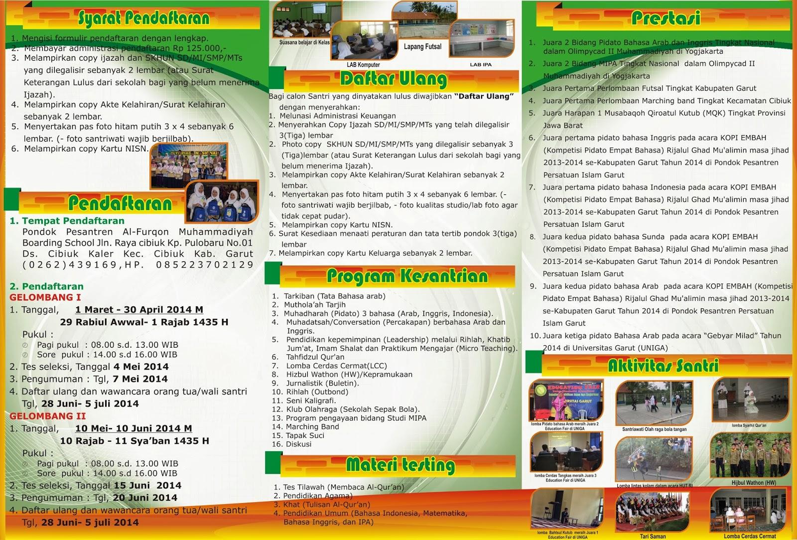 Brosur Penerimaan Santri Baru Tahun Pelajaran 2014 2015 Al Furqon