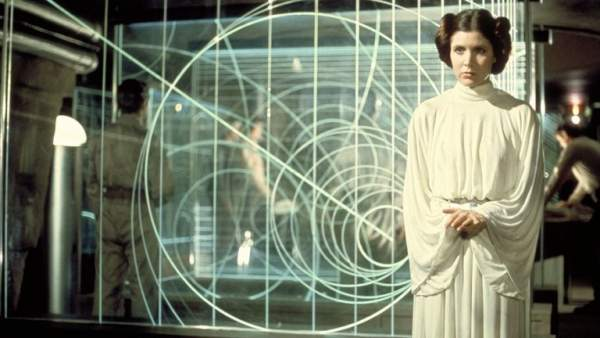 Carrie Fisher como la princesa Leia