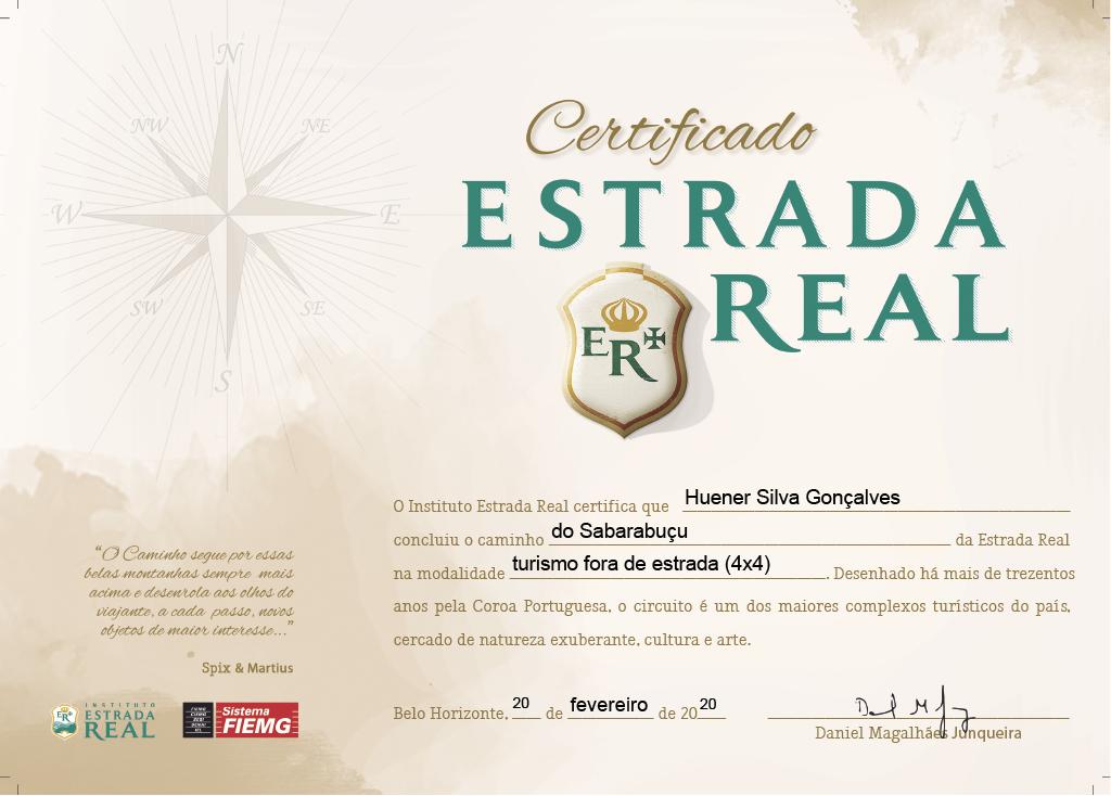 Certificado de Conclusão do Caminho do Sabarabuçu