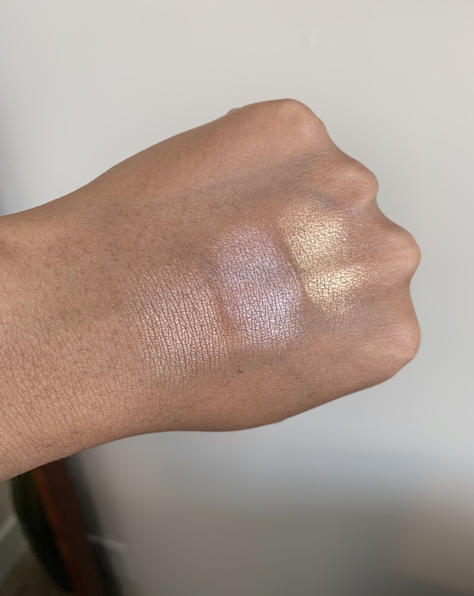 Laura Mercier Face Illuminator Highlighting Powder indiscretion devotion addiction swatches on dark skin