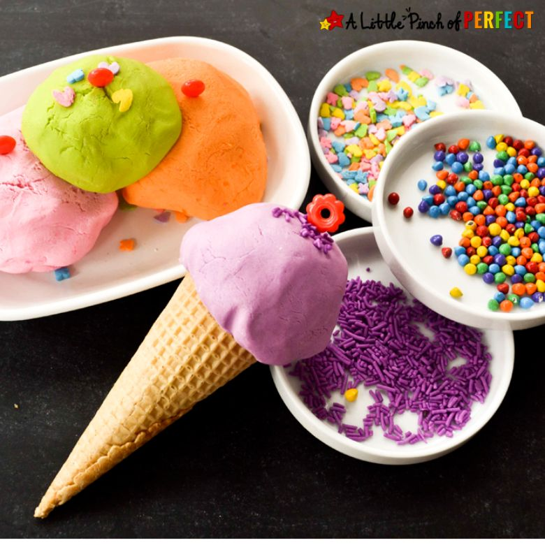Ice cream playdough summer activities for preschoolers