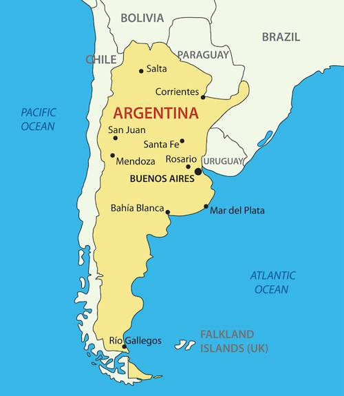 Printable Argentina Map with Cities