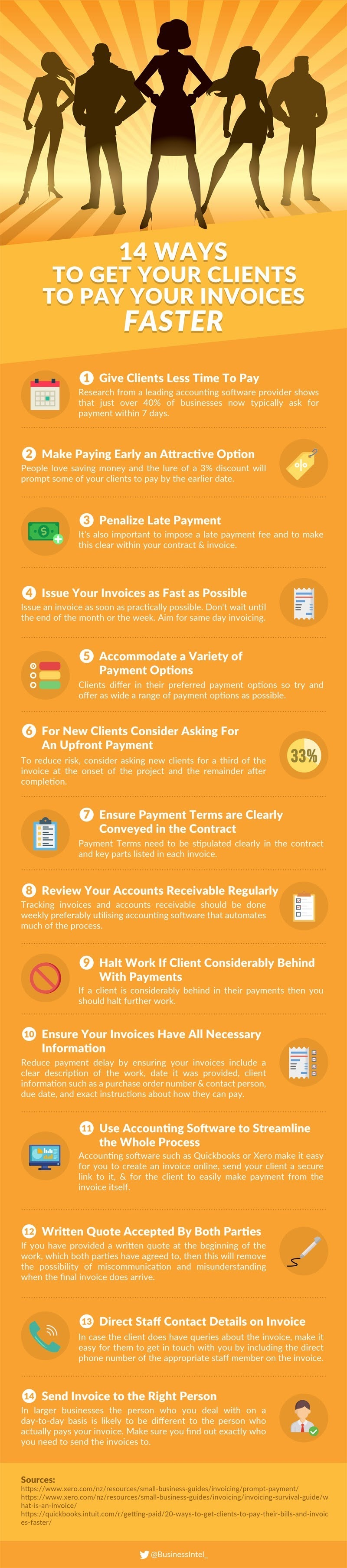 14 Ways To Get Your Clients to Pay Your Invoices Faster #infographic