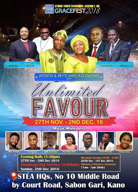 Details about Strong tower Evangelical Assembly Kano Church Convention, GraceFest 2018, tagged Unlimited Favour.