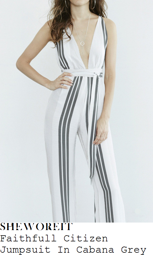 chloe-lewis-faithfull-citizen-bright-white-and-grey-vertical-stripe-print-sleeveless-plunge-front-cross-over-back-high-waisted-tie-detail-wide-leg-jumpsuit