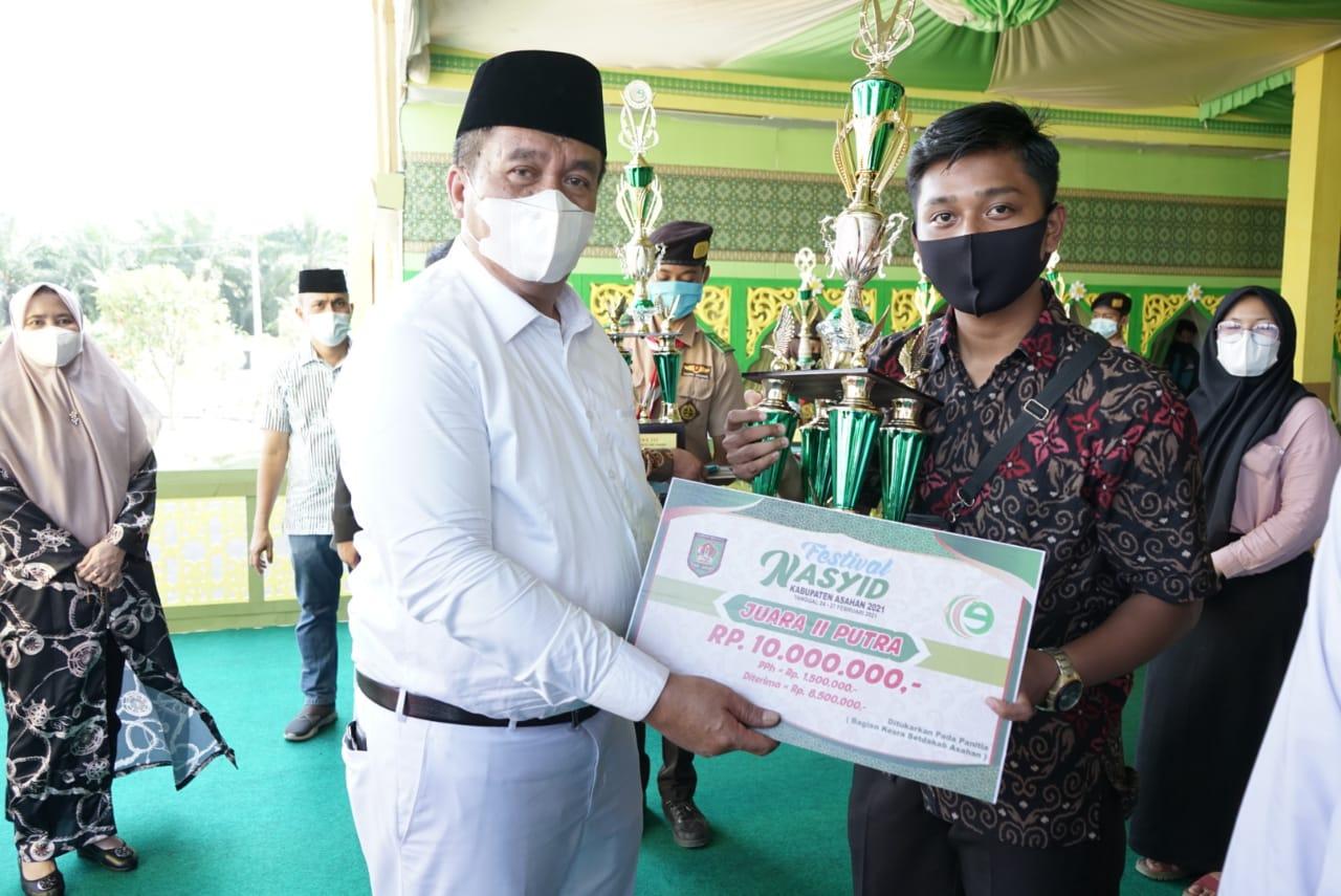 Wakil Bupati Asahan Menutup Festival Seni Nasyid Tingkat Kabupaten Asahan Tahun 2021.