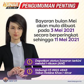 Bayaran i-Sinar Mei 2021 Akan Dilaksanakan Sehingga 11 Mei 2021!