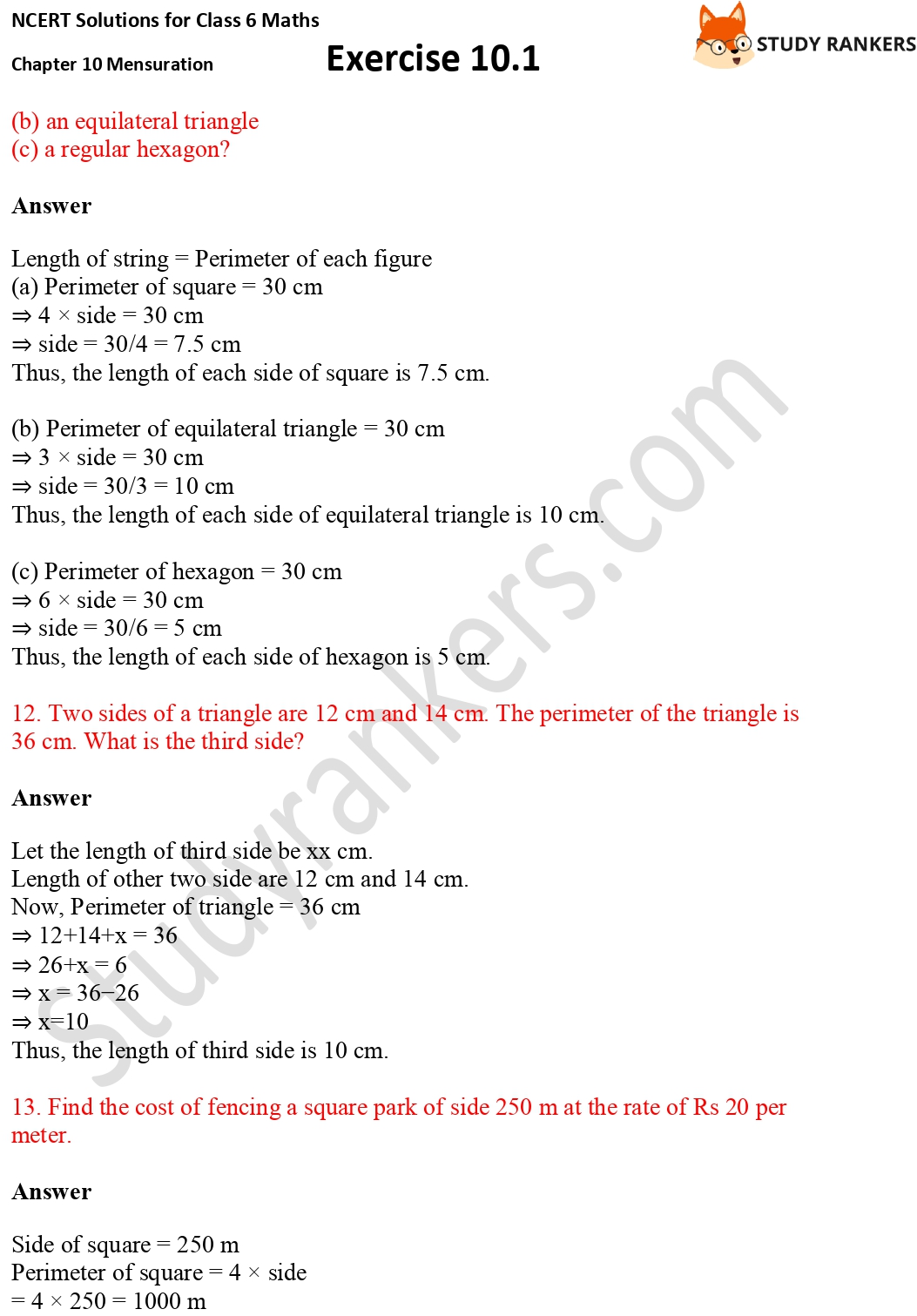 NCERT Solutions for Class 6 Maths Chapter 10 Mensuration Exercise 10.1 Part 5