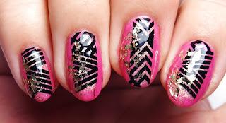 Geometric Pink Nails