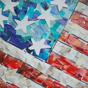 United States Flag Paper Mosaic, as part of Around the World in 30 Days- Geography and cultural activities for toddlers and preschoolers