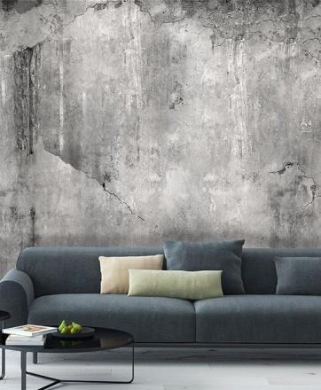 betongtapet sliten vägg grå fototapet