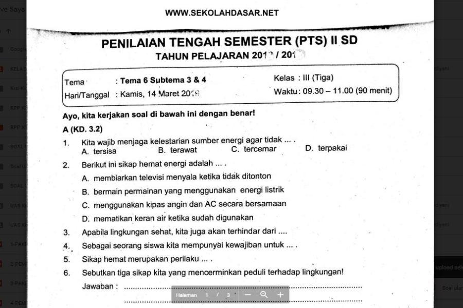 Soal Ulangan Kelas 3 Tema 6 Subtema 3 Dan 4 Sekolahdasar Net
