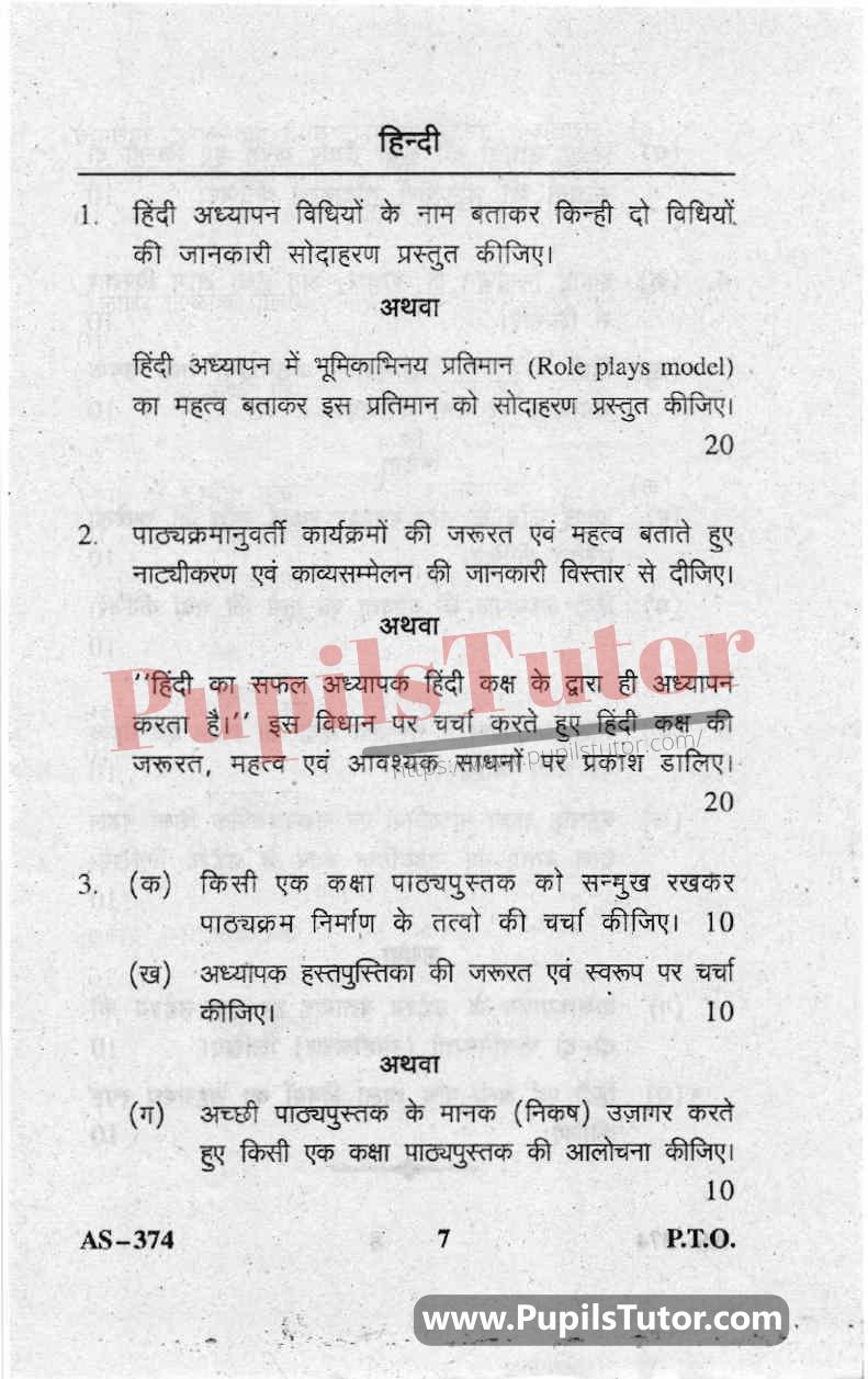 Pedagogy Of Hindi Question Paper