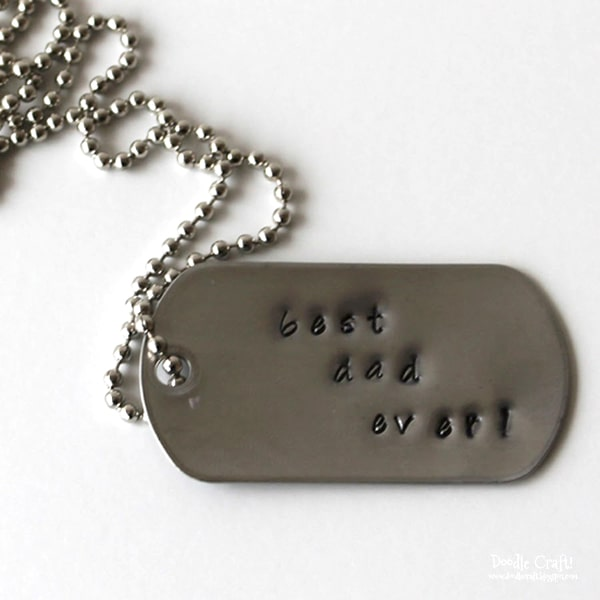 Custom dog tag necklaces made with alphabet punches for father's day