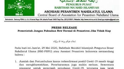 """Asosiasi Pesantren Indonesia Imbau Jangan Paksa """"New Normal"""" di Pesantren."""