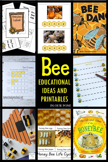 A Celebration of Bees- Ideas and Printables for Kids // In Our Pond // kids' crafts // free printables // kindergarten // homeschool // free printables // montessori  // math // reading